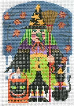 click here to view larger image of Witch Trick or Treater (hand painted canvases)