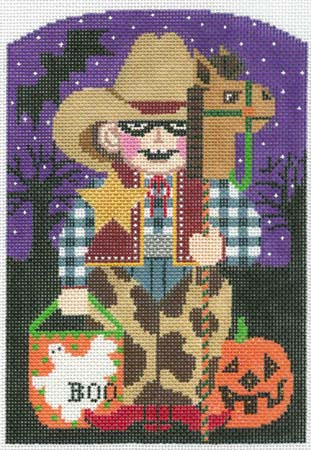 click here to view larger image of Cowboy Trick or Treater (hand painted canvases)