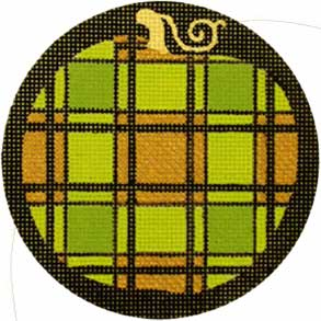 click here to view larger image of Fancy Pumpkins - Green Plaid (hand painted canvases)