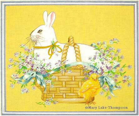click here to view larger image of White Bunny Basket (hand painted canvases)