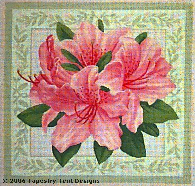 click here to view larger image of Rhododendron Pillow (hand painted canvases)