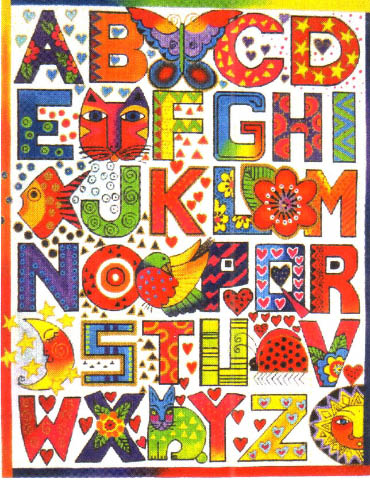 click here to view larger image of Alphabet Sampler (hand painted canvases)