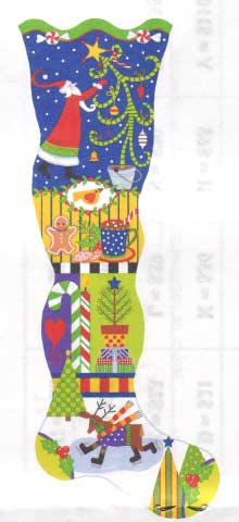 click here to view larger image of Spirit of Christmas Stocking, The (hand painted canvases)