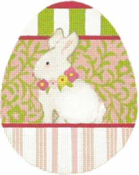 click here to view larger image of Bunny Animal Floral Egg (hand painted canvases)