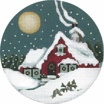 click here to view larger image of Cottage Moon Ornament (hand painted canvases)