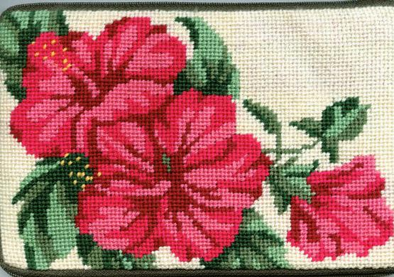 click here to view larger image of Hibiscus Coin Purse (needlepoint kits)