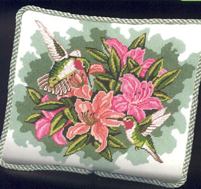 click here to view larger image of Hummingbirds & Lilies (needlepoint kits)