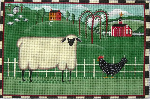 click here to view larger image of Folk Farm Scene (hand painted canvases)