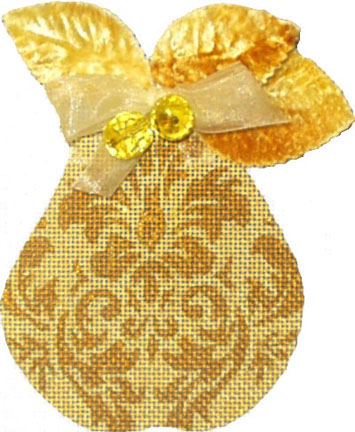 click here to view larger image of Golden Pears - Damask   (hand painted canvases)