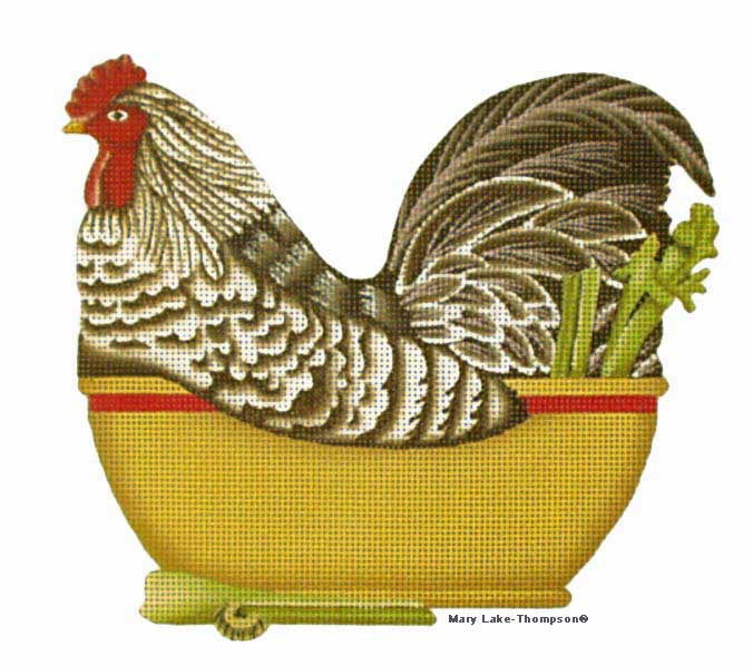 click here to view larger image of Brown Chicken Bowl (hand painted canvases)