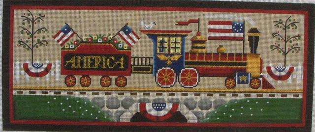 click here to view larger image of 4th Of July Train (hand painted canvases)