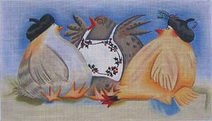 click here to view larger image of Three French Hens (hand painted canvases)