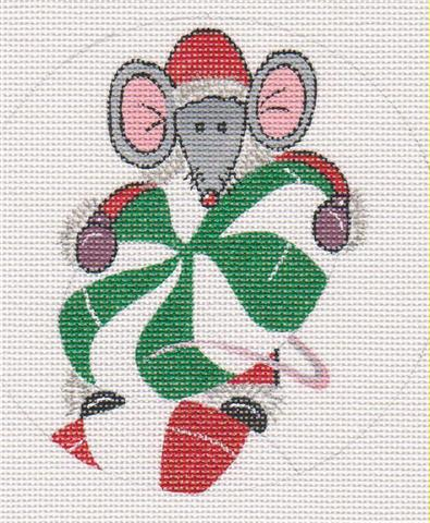 click here to view larger image of Mouse with Peppermints Ornament (hand painted canvases)