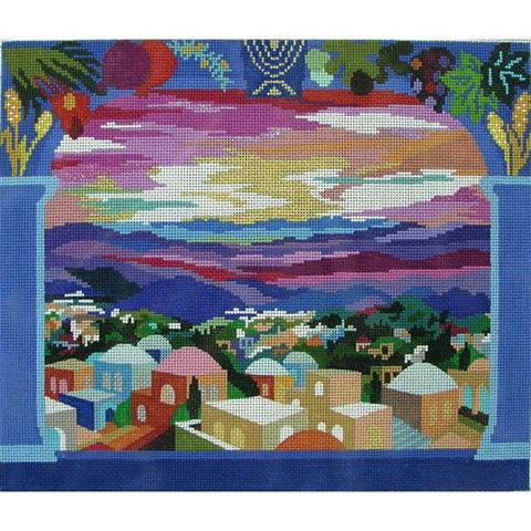 click here to view larger image of Beautiful Jerusalem - Taleis Bag (hand painted canvases)