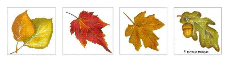 click here to view larger image of Autumn Leaves Coaster Set (hand painted canvases)
