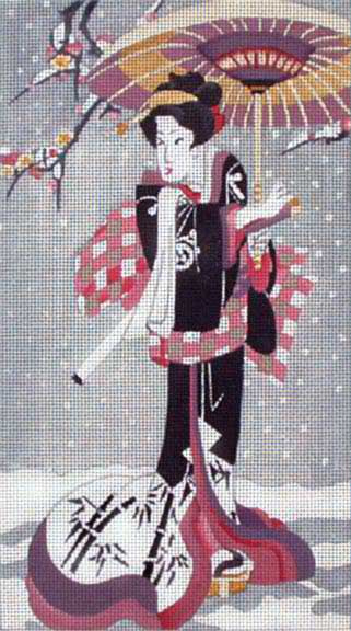 click here to view larger image of Geisha With Parasol in Snow (hand painted canvases)