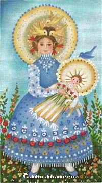 click here to view larger image of Blue Bird Madonna (hand painted canvases)