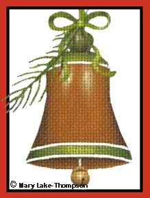 click here to view larger image of Bell with Evergreen Sprig Ornament (hand painted canvases)