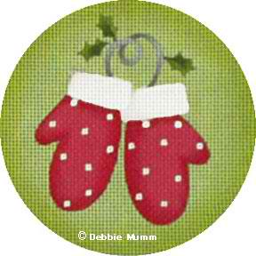 click here to view larger image of Mittens Ornament (hand painted canvases)