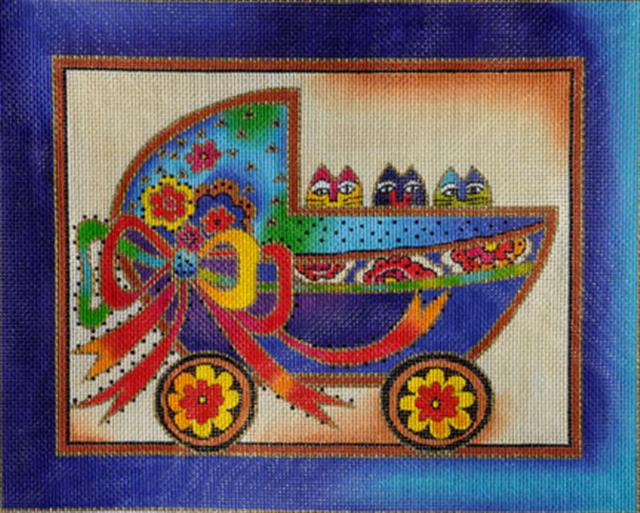 click here to view larger image of Baby Cats in Buggy (hand painted canvases)