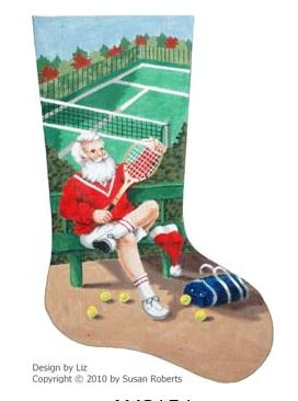 click here to view larger image of Santa Tennis Stocking (hand painted canvases)