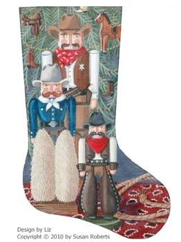 click here to view larger image of Cowboy Nutcracker Stocking (hand painted canvases)