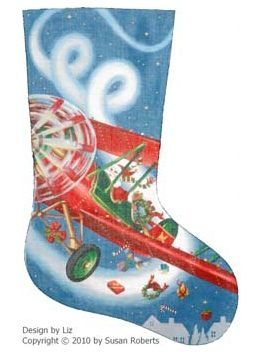 click here to view larger image of Flying High Santa  Stocking - 18ct (hand painted canvases)