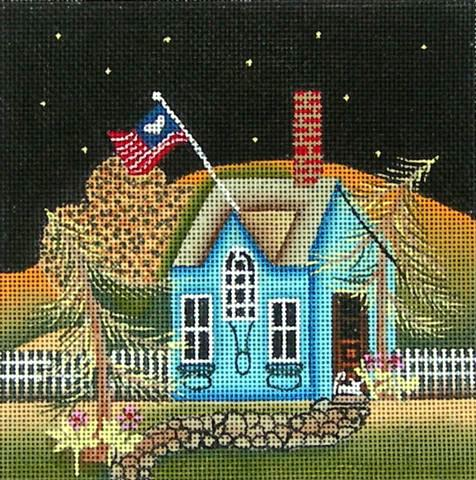 click here to view larger image of Blue House (hand painted canvases)
