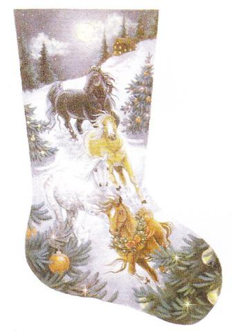 click here to view larger image of Christmas Eve Run Stocking (hand painted canvases)