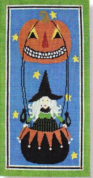 click here to view larger image of Witch with Pumpkin (hand painted canvases)