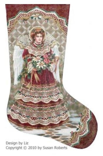 click here to view larger image of Angel and Bouquet Stocking (hand painted canvases)