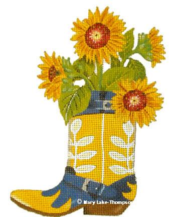 click here to view larger image of Sunflower Boot (18 mesh) (hand painted canvases)