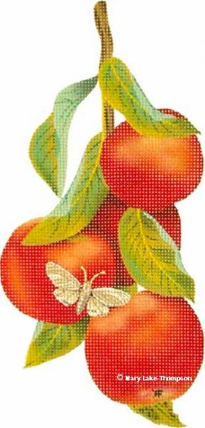 click here to view larger image of Apples with Leaves and Moth (hand painted canvases)