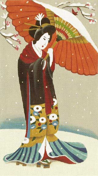 click here to view larger image of Geisha With Red Parasol in Snow (hand painted canvases)