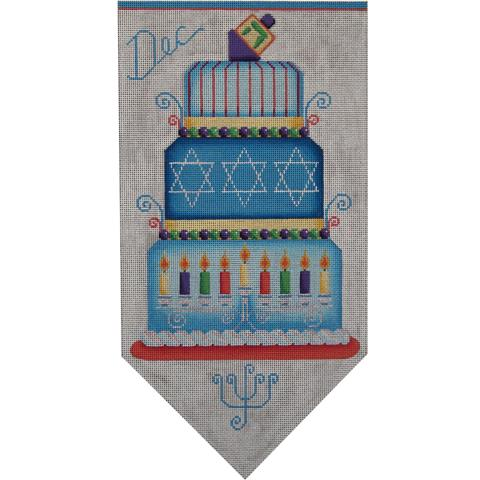 click here to view larger image of Judaic Banner Cake - 18 Mesh (hand painted canvases)