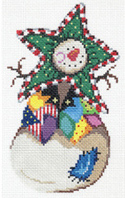 click here to view larger image of Snowman With Patchwork Vest Ornament (hand painted canvases)