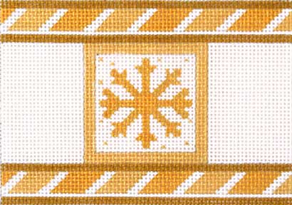 click here to view larger image of Golden Snowflake Cracker (hand painted canvases)