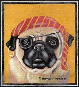 click here to view larger image of Halloween Pup - Pug Pirate (hand painted canvases)