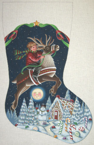 click here to view larger image of Boy on Reindeer Stocking (hand painted canvases)