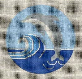 click here to view larger image of Dolphin Ornament (hand painted canvases)