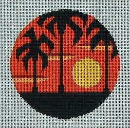 click here to view larger image of Palm Trees Sunset Ornament (hand painted canvases)