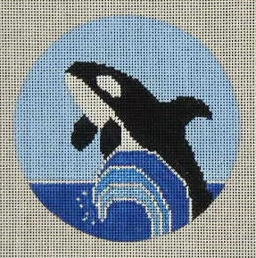 click here to view larger image of Orca Ornament (hand painted canvases)