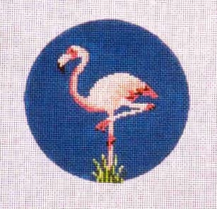click here to view larger image of Flamingo Ornament  (hand painted canvases)