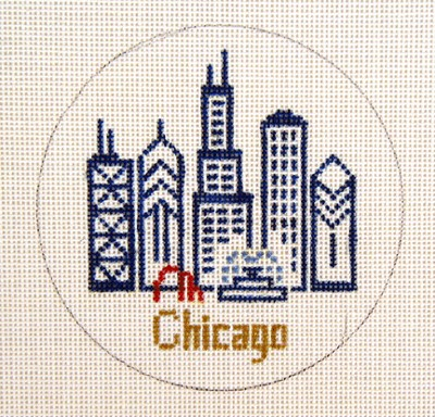 click here to view larger image of Chicago Ornament (hand painted canvases)