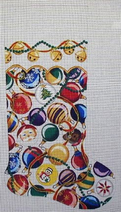 click here to view larger image of Christmas Balls Stocking (hand painted canvases)