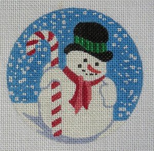 click here to view larger image of Candy Cane Snowman Ornament (hand painted canvases)