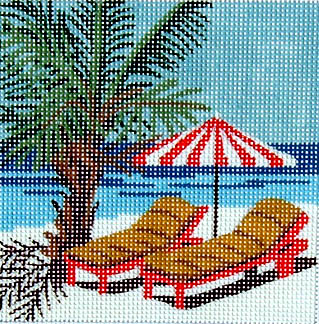 click here to view larger image of Beach Palm (hand painted canvases)