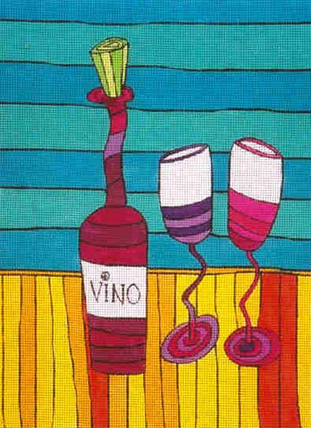 click here to view larger image of Vino With Glasses (hand painted canvases)