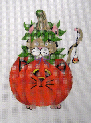 click here to view larger image of Cat in Pumpkin (hand painted canvases)