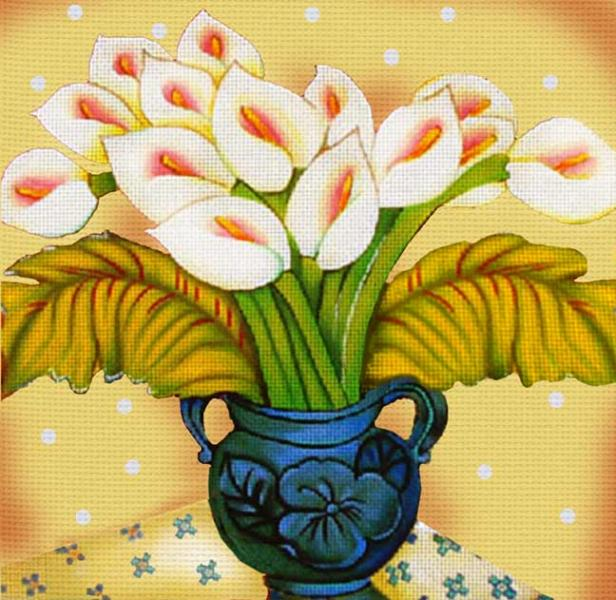 click here to view larger image of Blue Vase and Calla Lilies (hand painted canvases)
